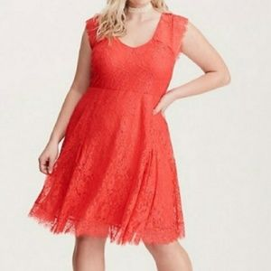 Torrid coral lace skater dress